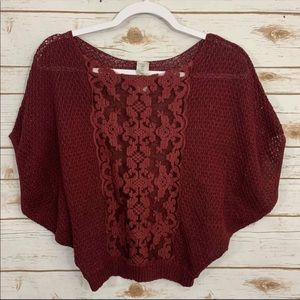 Free People Embroidered Burgundy Dolman Blouse